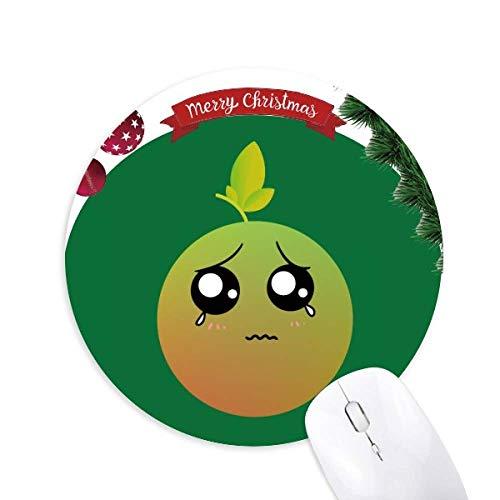 Schöne Cartoon Cry Orange Emoji Runde Gummi Maus Pad Weihnachtsbaum Matte