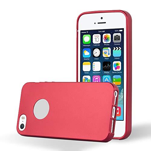 Cadorabo Funda para Apple iPhone 5 / iPhone 5S / iPhone SE en Metallic Rojo - Cubierta Proteccíon de Silicona TPU Delgada e Flexible con Antichoque - Gel Case Cover Carcasa Ligera