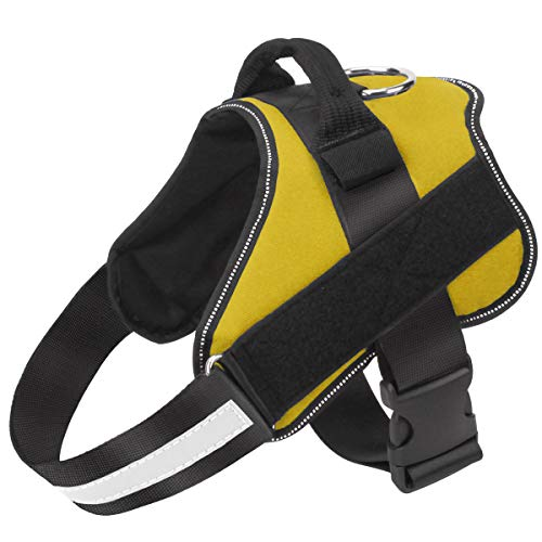 Bolux Dog Harness, No-Pull Reflective Dog Vest, Breathable Adjustable Pet Harness with Handle for Outdoor Walking - No More Pulling, Tugging or Choking ( Yellow, M )