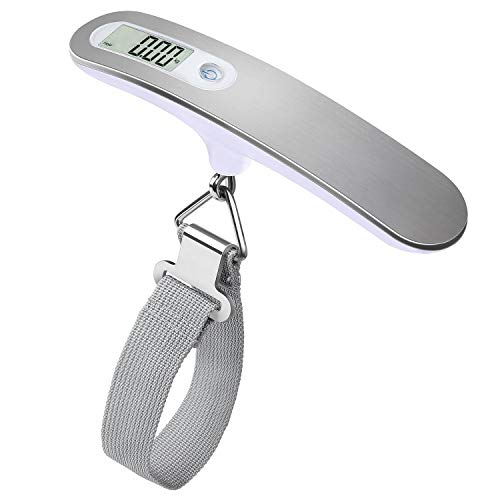 Digital Hanging Luggage Scale, Stainless Steel / 110 Pounds-Included Battery(Silver) Upto 50KG