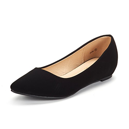 DREAM PAIRS Women's Jilian Black Nubuck Low Wedge Flats Shoes - 8.5 M US