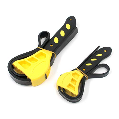 Geesatis 2pcs Rubber Strap Wrench, Adjustable Strap Wrench, Oil Wrench, Grip Wrench, Filter Wrench, Black on Yellow Used by Mechanics, Plumbers