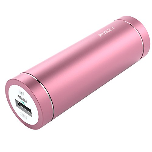 AUKEY 5000mAh Portable Charger, Compact Size Power Bank with 5V/2A Output External Battery for iPhone iPad Samsung Google and More - Pink