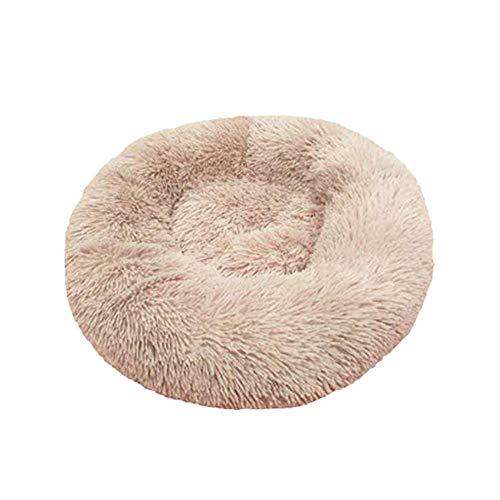 Cama de felpa Donut Pet Dog Cat Calmante Pet Bed Round Cuddler cálido Kennel Soft Puppy Sofá Cojín Cama Cómodo nido de algodón para perros y gatos, sueño mejorado, lavable a máquina