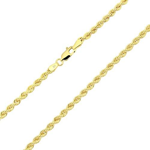Catenina unisex con maglia a corda in oro giallo 750 da 18carati, larga 3 mm- e Oro giallo, colore: oro giallo, cod. corda100-18