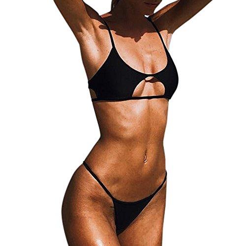 Brasilien Bikini-Set Damen Träger Geteilter Badeanzug Einfarbig Push-Up Gepolstert Badebekleidung GreatestPAK,Schwarz,M
