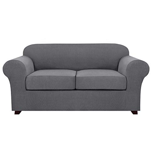 3 Piece Stretch Sofa Covers for 2 Cushion Couch Loveseat Covers for Living Furniture Slipcovers (Base Cover Plus 2 Seat Cushion Covers) Feature Upgraded Thicker Jacquard Fabric (2 Seater, Grey)