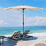SMLIXE 9ft Patio Garden Table Umbrellas Outdoor Market Umbrella With Push Button Tilt and Crank Lift System UV Protection Waterproof Sunproof Beige