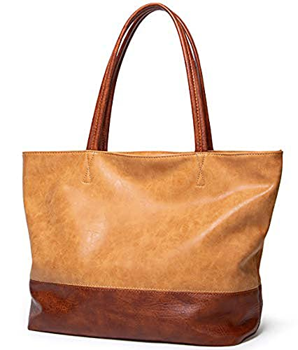 YXLYLL Bolso de hombro vintage para mujer – Bolso de cuero suave con gran capacidad con cremallera superior asa Satchel A