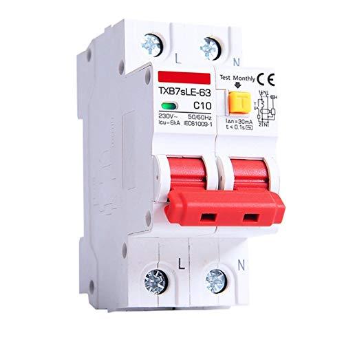 LUOXUEFEI Disyuntor Diferencial Interruptor Protección Contra Fugas 2P 20A 25A 32A 40A 30MaInterruptor De Circuito DePotencia