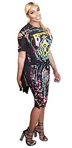 Womens Sexy 2 Piece Dress Set Skull Graffiti Tassel Shirt Ripped Holes Skirt Clubwear Tracksuit Set Black