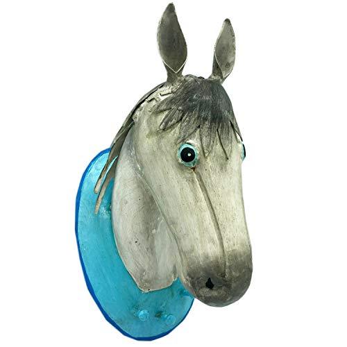 Pape Kunstgewerbe Große Trophäe Wandhaken Garderobe mit 3 Haken Lipizzaner Pferd weiß aus Metall handbemalt 30 x 18 x 15 cm. Kleiderhaken Kinderzimmer Garderobe
