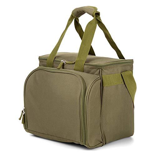 Commando Industries 29 teiliges Outdoor Picknickset mit Kühltasche für 4 Personen (Oliv/35x30x29 cm)