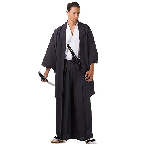Princess of Asia Japan Samurai Kimono Set 3 Teile Kendo Gi + Hakama + Haori Baumwolle M L XL (Einheitsgröße, Schwarz & Weiß)