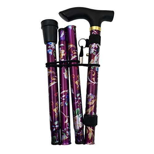 JZK Zusammenfaltbarer kompakter Gehstock lila Blumen ausziehbarer Faltbarer Spazierstock höhenverstellbar mit Armband und Gummihülse für Zuhause und Reisen