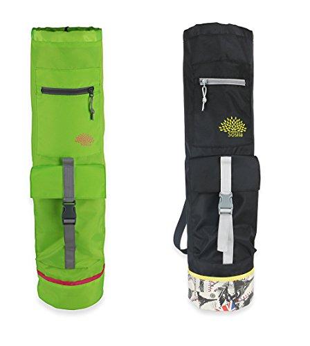 Sosila Yogatasche für Yogamatte, Gymnastikmatte, Fitnessmatte bis zu Einer Größe von 183x61x0,8cm, Yogabag, Yogatragetasche mit einem verstellbaren Tragegurt und zusätzlichen Staufächern (Hellgrün)