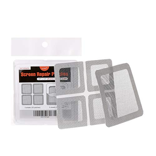 """by.RHO Window and Door Screen Repair Patch kit. 25 Patches, (1⅞"""" x 1⅞"""" x 20pcs) (3½"""" x 3½"""" x 5pcs)"""