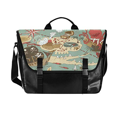 Cartoon Treasure Map Canvas Flapover Postman Bag, Unisex 15.6 Inch Laptop, Retro Satchel, Business Briefcase, Shoulder Bag, Handbag, Student College Satchel
