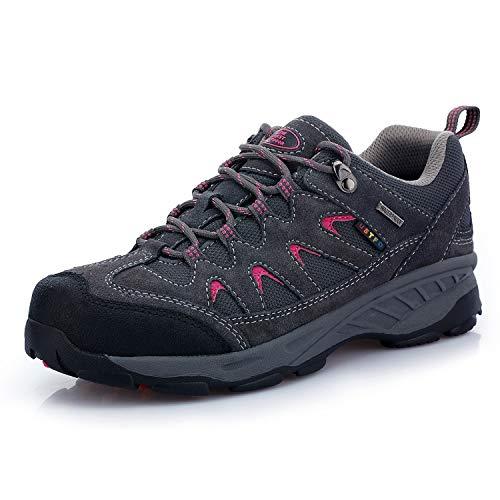 TFO Damen Trekking & Wanderschuhe Wasserabweisende und Atmungsaktive Outdoor Schuhe mit Rutschfester Sohle, Grau, 38.5 EU