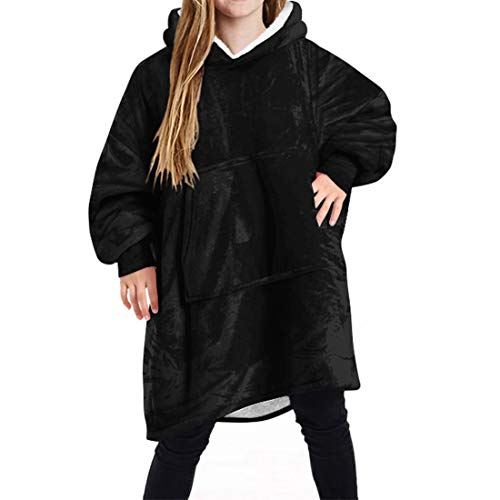 wenyujh Hoodie Kinder Decke Poncho Sweatshirt mit Kapuzenpullover warm Decke Kapuzenhandtuch für Jungen Mädchen (One Size, B-1#)