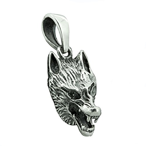Colgante celta de cabeza de lobo de plata de ley 925, 3,5 g, amuleto BELDIAMO