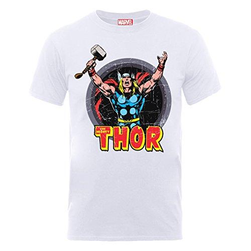Marvel Classics Thor Arms Camiseta, Blanco, Medium para Hombre
