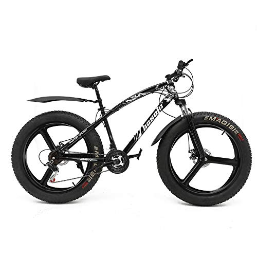 hosote Fat Tire Bike for Men, 26 Inch Shimano 21 Speed Mountain Bike, 4 inch Wide Tire Beach Snow Mountain Bicycle, Suspension Fork Dual Disc Brakes MTB with 3 Spoke Wheel