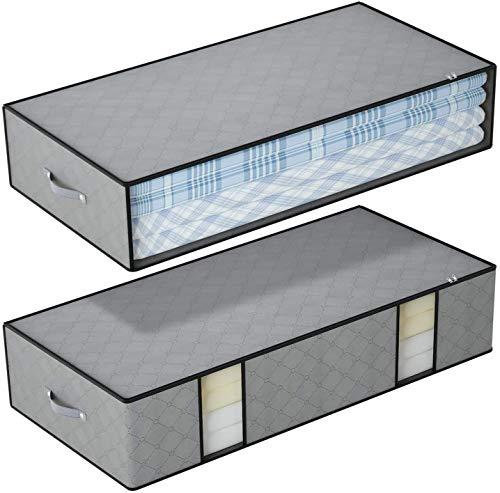 DIMJ 2 Stück Unterbettkommode, Faltbare Kleideraufbewahrung mit verstärkt Griff und Sichtfenster, Große Unterbett Aufbewahrungstasche für Kleidung, Bettwäsche, Bettdecken, Kissen, Decken, Grau