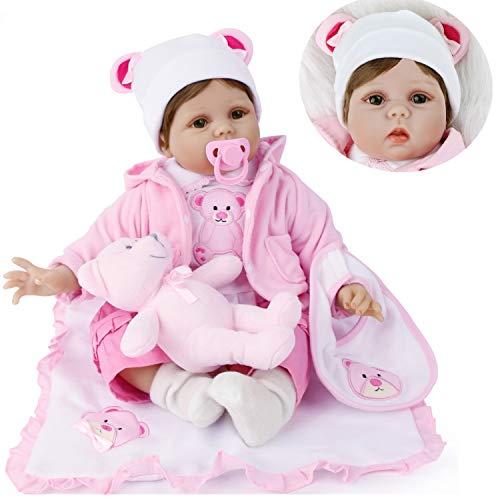 MAIHAO 55cm Bebes Reborn niñas Silicona Blanda realistas muñeca Reborn Vida Real Toddler Baby Recien Nacidos Originales Dolls Niño Ojos Abiertos