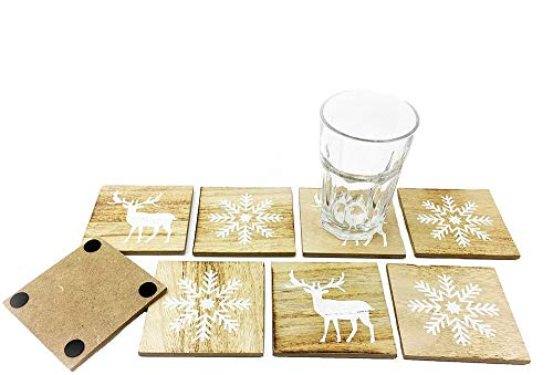 Untersetzer Xmas (8er Set) - weihnachtliche Glasuntersetzer, Untersetzer für Trinkglas