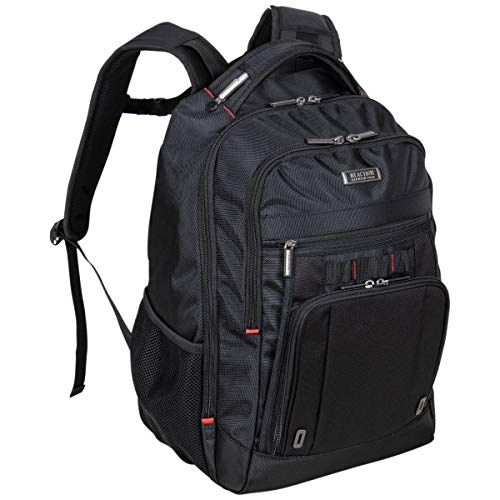 """Kenneth Cole Reaction Dual Compartment Anti-Theft RFID with USB Port 15.6"""" Laptop Backpack, Black With Red, One Size"""