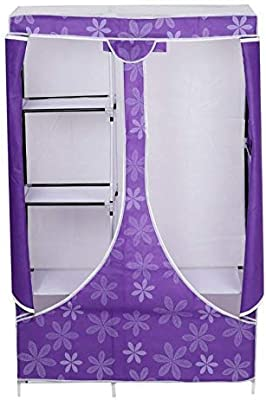 HOLME'S Collapsible Portable Closet Storage Organizer Wardrobe Clothes Rack with Shelves - Purple (Need to Be Assembled)