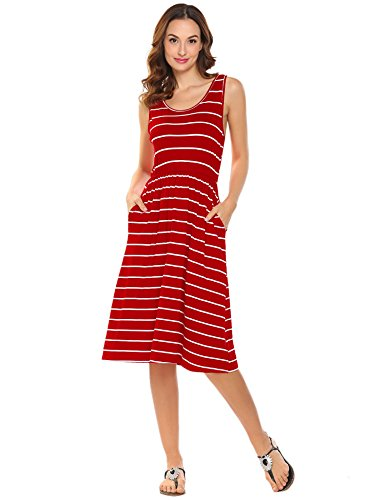 Hount Women's Summer Sleeveless Striped Loose Midi Casual Sun Dresses with Pockets (Red, Large)