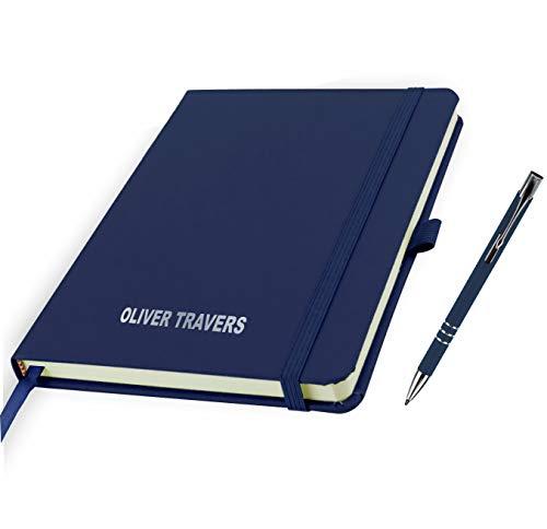 Blocco note A5 personalizzato, stampato con nome e penne abbinate (blu marino)