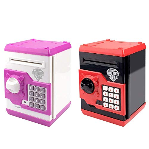 HUSAN Great Gift Toy for Kids Code Electronic Piggy Banks Mini ATM Electronic Coin Bank Box for Children Password Lock Case(Black/Red and White/Pink)