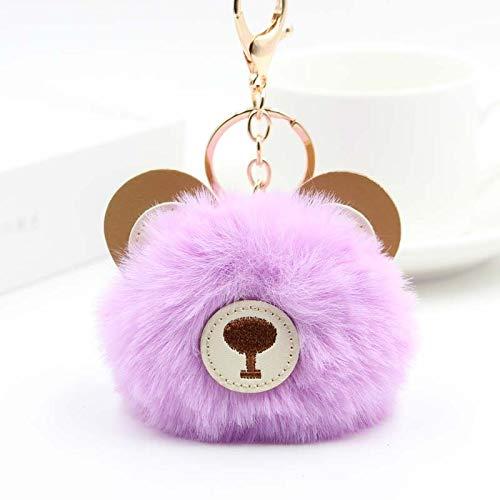 TEH Fashion Lovely Bear Hair Ball Llaveros para niñas Niños Mullido Faux Animal Fur Ball Llavero Bolso de Mujer Llavero Regalos No.Siete