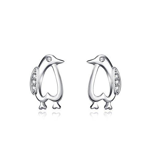 YFN Ohrstecker aus Sterlingsilber in Form von Pinguinen für Mädchen und Damen (Pinguin Ohrringe)