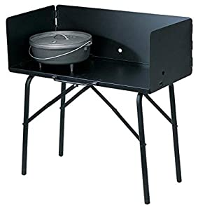 One Lodge Collapsible Outdoor Cooking Table, 16 Inch x 32 Inch x 26 Inch Includes a ⅛-inch coal deck Durable all-steel construction High-temperature black finish Three sided windscreen for better heat control Adjustable feet for sitting on unlevel gr...