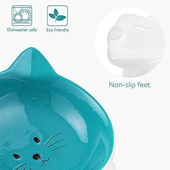 Navaris 2X Gamelle Chat en Céramique - Lot 2X Bol Design pour Chat Chaton avec Socle Antidérapant - Anti-éraflure - Compatible Lave-Vaisselle