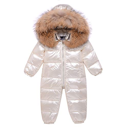 LZH Baby Winter Romper Boys Girls Bodysuit Down Jacket Warm Snowsuit Outfits Long Sleeve Jumpsuit Beige
