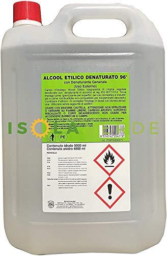 ALCOOL ETILICO 94° DENATURATO BIANCO 5 LT DISINFETTANTE PURO + OMAGGIO