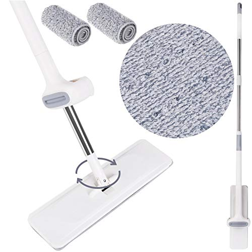 amzdeal Floor Mop Self Wash & Dry Mop Free Hand Wash Microfiber Flat Mop Stainless Steel Handle | Premium Mop Pads Microfiber Mop Floor Cleaning System for Home/Office Floor Cleaning