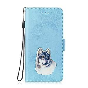 LARPOTE für Redmi 6 PRO Hülle, Premium Leder Tasche Flip Wallet Case [Standfunktion] [Kartenfächern] PU-Leder Schutzhülle Brieftasche Handyhülle-Blau.