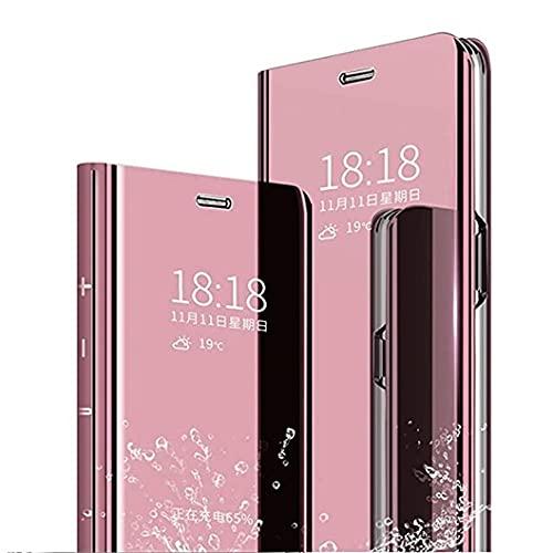 Jacyren Hülle Hülle für Samsung Galaxy A11, Lederhülle M11 Flip Tasche Spiegel Hülle Klappbar Schutzhülle Handyhülle mit Ständer Funktion PC Mirror Cover Kompatibel mit Samsung Galaxy A11, Rosa
