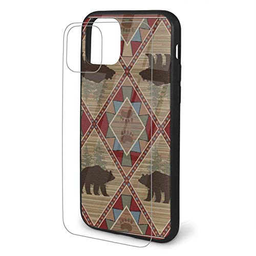 Elk with Bear Plaid Patch Tempered Glass iPhone 11 /Pro/Max Case,...