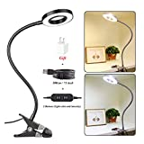CLOOOUDS 7W Desk Lamp, Eyelash Extension Light, LED Clip On Lamp, USB Eye-Care Book Light, Bed Lamp, Tattoo,Nail Art,Makeup Lash lamp, Warm Light and White Light, Adapter Included