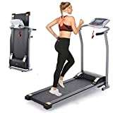 Folding Treadmill, Electric Running Machine with LCD Monitor Motorized Walking Running Machine Equipment for Home Gym (Gray)