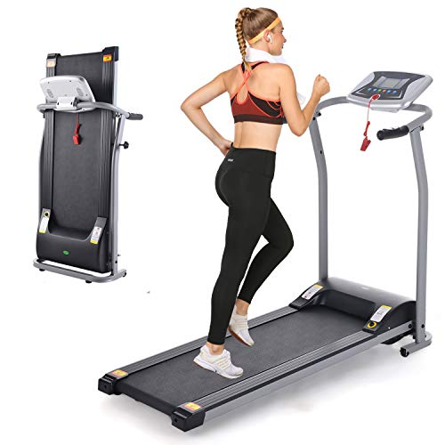 Folding Treadmill, Electric Running Machine with LCD Monitor...