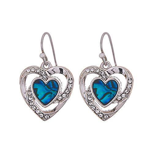 Paua Shell by Byzantium Collection: Natural Abalone Crystal Encrusted Framed Heart Drop Earrings in Delicate Blue/Green, Rhodium Plated, 20mm in size (P380) See matching Necklace P053 Byzantium