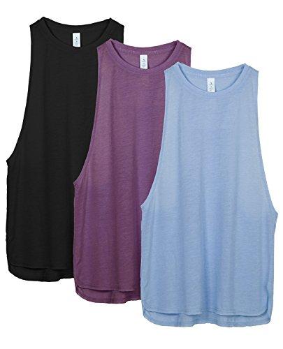 icyzone Damen Sport Tank Top Ringerrücken Yoga Fitness Shirt Loose Fit Sport Oberteile, 3er Pack (XL, Black/Grape/Sky Blue)